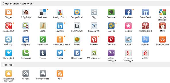 Кнопки социальных сетей от share42