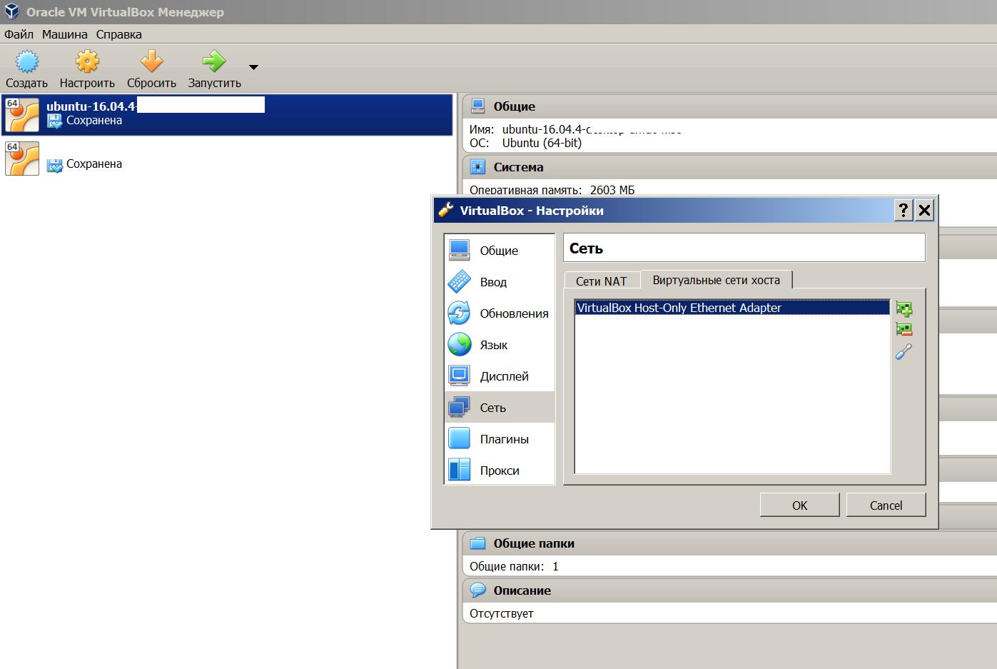 сеть вида VirtualBox Host-Only Ethernet Adapter