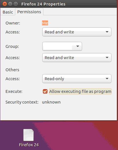 Панель свойств ярлыка для запуска браузера Firefox 24 в Linux