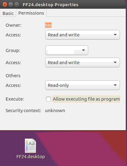 Панель свойств ярлыка в Linux