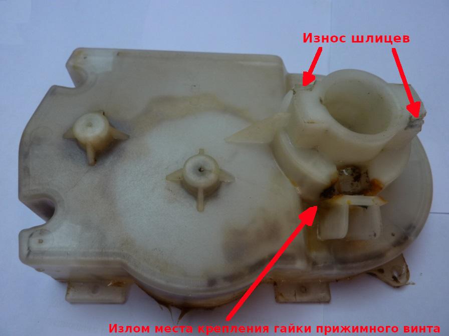 Корпус электромясорубки Panasonic MK-G38pr с испорченными шлицами крепления приемника продуктов